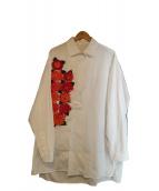 Yohji Yamamoto(ヨウジヤマモト)の古着「フラワープリントロングシャツ」|ホワイト