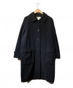 MHL.(エムエイチエル)の古着「ウールシングルコート」|ネイビー