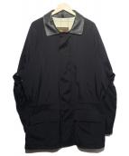 LORO PIANA(ロロピアーナ)の古着「襟レザーナイロンコート」|ブラック