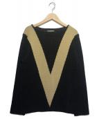 TENDERLOIN(テンダーロイン)の古着「T-BOAT NECK SWEATER」|ブラック×ベージュ