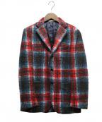 DEPETRILLO(デペトリロ)の古着「ツイードチェックジャケット」|レッド×ブルー