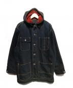 POLO COUNTRY(ポロカントリー)の古着「90'Sフード付デニムジャケット」 ブラック×レッド