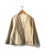 PLAIN PEOPLE(プレインピープル)の古着「リネ混ノーカラージャケット」|アイボリー
