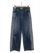 SERGE de bleu(サージ)の古着「サンバーンワイドデニムパンツ」|インディゴ