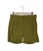CellarDoor(セラドール)の古着「ナイロン2プリーツショートパンツ」|オリーブ
