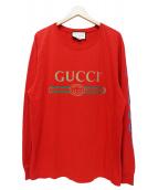 GUCCI(グッチ)の古着「ドラゴン刺繍クラシックロゴカットソー」|レッド
