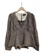 EmiriaWiz(エミリアウィズ)の古着「ベルト付きペプラムチェックブラウス」|ブラウン