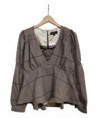 EmiriaWiz(エミリアウィズ)の古着「ベルト付きペプラムチェックブラウス」 ブラウン