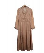 EmiriaWiz(エミリアウィズ)の古着「ショールカラーサテンワンピース」|ピンク