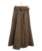 EmiriaWiz(エミリアウィズ)の古着「フェイクレザーピンタックスカート」|ブラウン