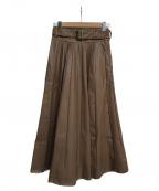 EmiriaWiz(エミリアウィズ)の古着「フェイクレザーピンタックスカート」 ブラウン