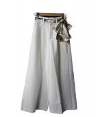 EmiriaWiz(エミリアウィズ)の古着「スカーフベルトワイドパンツ」|ホワイト
