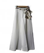 EmiriaWiz(エミリアウィズ)の古着「スカーフベルトワイドパンツ」 ホワイト