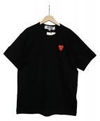 PLAY COMME des GARCONS(プレイコムデギャルソン)の古着「ダブルハートワッペンTシャツ」|ブラック