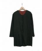 KANATA(カナタ)の古着「ノーカラーシャツ」 ダークグリーン