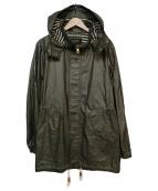 BURBERRY BLACK LABEL(バーバリーブラックレーベル)の古着「コーティング加工フーデッドジャケット」|カーキ