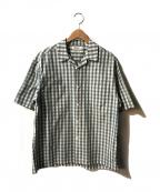 Gymphlex(ジムフレックス)の古着「ギンガムチェックオープンカラーシャツ」 カーキ×ホワイト