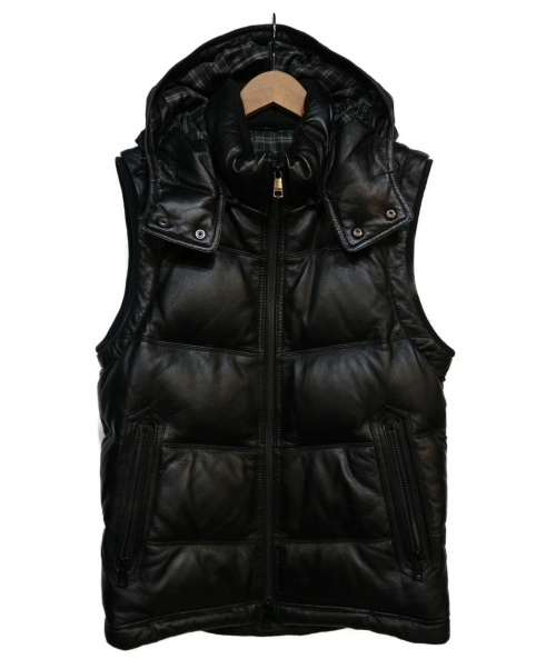 BURBERRY BLACK LABEL(バーバリーブラックレーベル)BURBERRY BLACK LABEL (バーバリーブラックレーベル) レザーダウンベスト ブラック サイズ:Mの古着・服飾アイテム