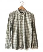 BURBERRY BLACK LABEL(バーバリーブラックレーベル)の古着「チェックシャツ」 ホワイト×ブラック
