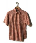 ()の古着「半袖チェックシャツ」 オレンジ