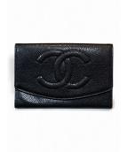 CHANEL(シャネル)の古着「キャビアスキンココマークカードケース」|ブラック