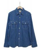 PHERROWS(フェローズ)の古着「ストライプワークシャツ」|ブルー