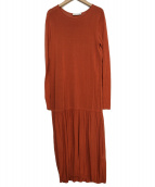 Demi-Luxe BEAMS(デミルクスビームス)の古着「ペプラムヘム ニットワンピース」 オレンジ