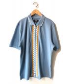stussy(ステューシー)の古着「ジップシャツ」|ブラウン×ブルー