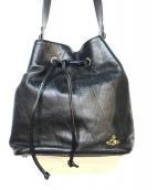 Vivienne Westwood(ヴィヴィアンウエストウッド)の古着「レザー巾着ショルダーバッグ」|ブラック