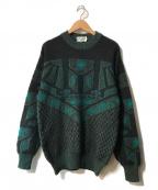 VALENTINO(ヴァレンティノ)の古着「【OLD】デザインニット」 グリーン×ブラック
