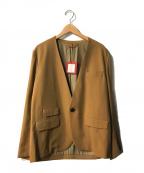 UNFIL(アンフィル)の古着「リネンブレンドカラーレスジャケット」|ベージュ