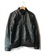 AKM(エーケーエム)の古着「シングルラムレザーライダースジャケット」 ブラック