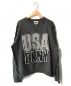 DKNY(ダナキャランニューヨーク)の古着「【古着】ビッグロゴクルーネックスウェット」 ブラック