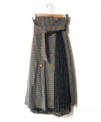 Lily Brown(リリーブラウン)の古着「異素材切り替えスカート」 グレー
