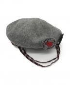 Vivienne Westwood(ヴィヴィアンウエストウッド)の古着「スタッズ&ワッペンベレー帽」|グレー