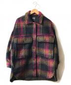 ZARA(ザラ)の古着「メルトンCPOジャケット」|ブラック×レッド