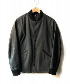 FREAKS STORE(フリークスストア)の古着「レザースリーブスタジャン」|ブラック×グレー