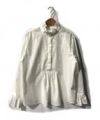 Lois CRAYON(ロイスクレヨン)の古着「フリルネッククラシックブラウス」|ホワイト