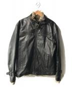 ELLE HOMME(エルオム)の古着「ラビットファーライナーレザージャケット」|ブラック