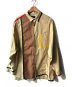 HARE(ハレ)の古着「クレイジーパターン切替パイピングシャツ」 ベージュ