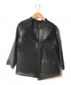 HIROKO KOSHINO(ヒロコ コシノ)の古着「シースルーデザインプリーツジャケット」|ブラック