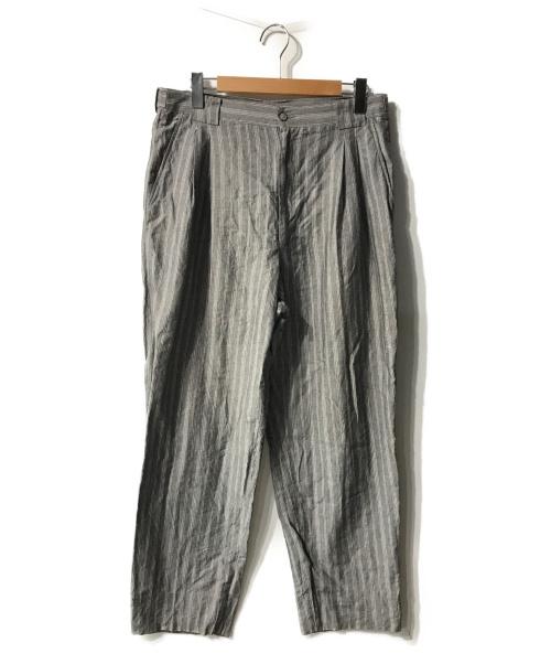 GIVENCHY(ジバンシィ)GIVENCHY (ジバンシィ) リネン混パンツ グレー×ホワイト サイズ:38の古着・服飾アイテム