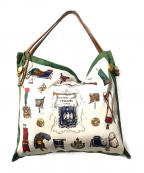 TOPKAPI(トプカピ)の古着「マイルドサテンスカーフ柄バッグ」|ホワイト×グリーン