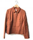 LANVIN(ライバン)の古着「【古着】ウールウィンドーペーンチェックスイングトップ」|ブラウン