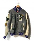 Franklin & Marshall(フランクリン&マーシャル)の古着「レザースリーブウールスタジャン」|グレー×アイボリー