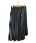 ZUCCA × le coq sportif(ズッカ×ルコックスポルティフ)の古着「異素材切替プリーツスカート」|ブラック