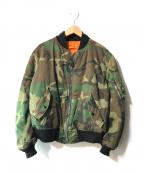 US ARMY(ユーエスアーミー)の古着「【OLD】リバーシブルウッドランドカモMA-1ジャケット」|オリーブ