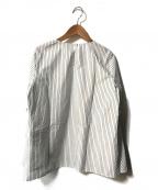 theory luxe(セオリーリュクス)の古着「フレアスリーブストライプシャツ」 ホワイト