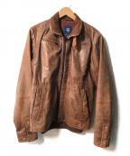 G-STAR RAW(ジースターロゥ)の古着「BRAND LEATHER JACKET/ブランドレザージャ」|ブラウン