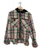 ()の古着「ダメージ加工フード付チェックシャツ」|ピンク×ブラック